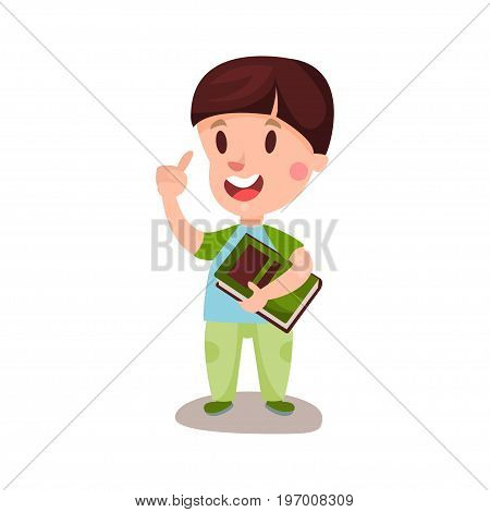 Cute happy boy with brown hair standing and holding a book, education and knowledge concept, colorful character vector Illustration on a white background