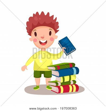 Smiling curly boy standing next to a pile of books, education and knowledge concept, colorful character vector Illustration on a white background