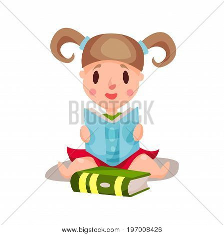 Sweet little girl sitting and reading a book, education and knowledge concept, colorful character vector Illustration on a white background