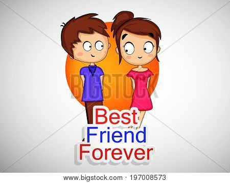 illustration of boy and girl with best friend forever text on the occasion of friendship day