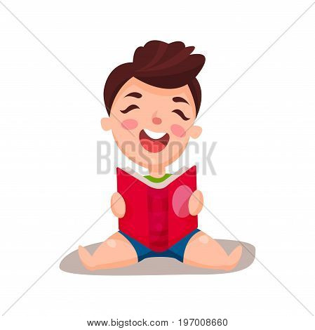 Cute happy boy sitting on the floor and reading a book, education and knowledge concept, colorful character vector Illustration on a white background