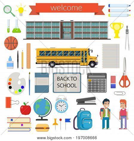 School student stationery supplies set. Isolated on white background. Vector illustration.