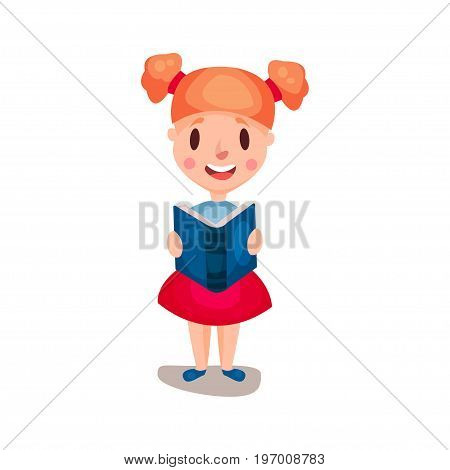 Adorable redhead girl standing and reading a book, education and knowledge concept, colorful character vector Illustration on a white background