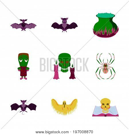assembly of flat illustration book skull ghost bat spider zombie men cauldron