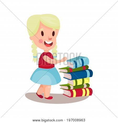 Cute blonde girl standing next to a pile of books, education and knowledge concept, colorful character vector Illustration on a white background