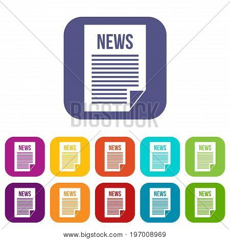 News newspaper icons set vector illustration in flat style in colors red, blue, green, and other