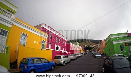Cape Town South Africa - October 17 2014: Muslim Bo-Kaap district of Cape Town with bright beautiful houses.