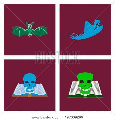 assembly of flat illustration bat ghost book skull