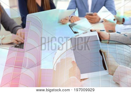 Concept of consulting. Double exposure of cityscape and people with devices on business meeting