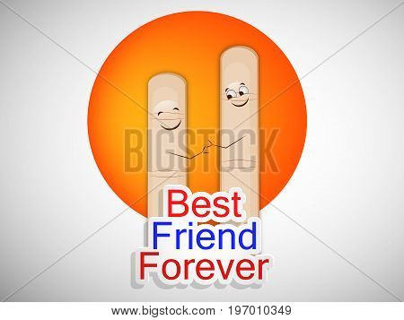 illustration of fingers with best friend forever text on the occasion of friendship day