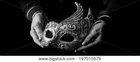Woman Hands Isolated On Black Showing Venetian Mask