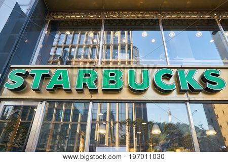 SEOUL, SOUTH KOREA -  CIRCA MAY, 2017: Starbucks sign. Starbucks Corporation is an American coffee company and coffeehouse chain.