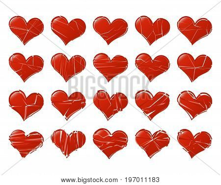 Set of vector broken hearts shape classic. Fall out of Love abstract. Bored lover depression concept.