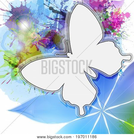Abstract background in grunge style with white butterfly silhouette. Vector illustration.