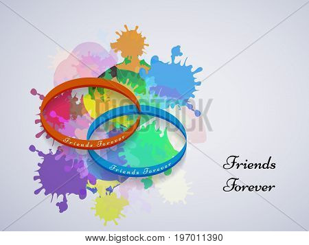 illustration of bracelet with friends forever text on the occasion of friendship day