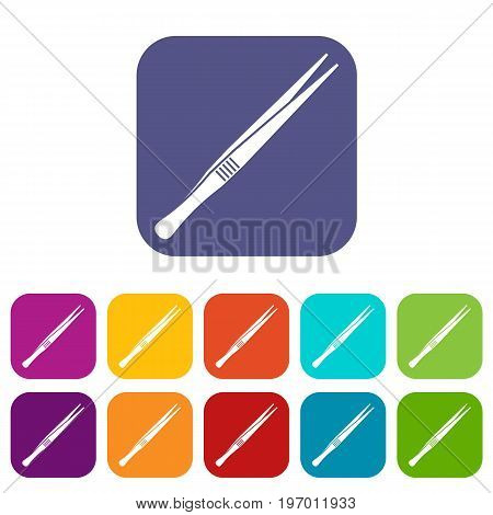 Tweezers icons set vector illustration in flat style in colors red, blue, green, and other