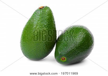 A group of two whole dark avocados with a scratchy texture. Bright and beautiful avocados isolated on a white background. Healthful agricultural ingredients for green juices.