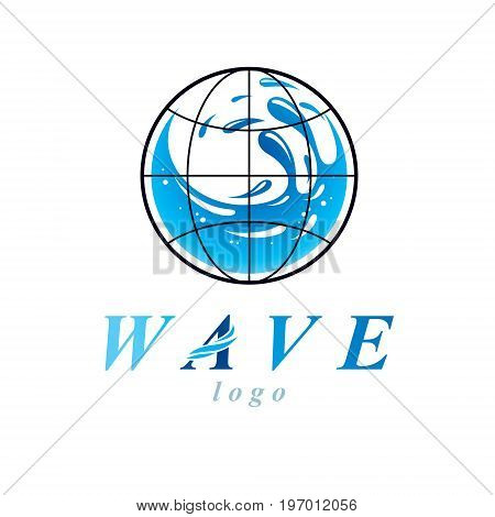 Vector blue clear water drop logo for use as marketing design symbol. Environment protection concept.