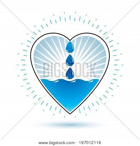 Pure water vector abstract symbol for use in mineral water advertising. Living in harmony with nature concept.