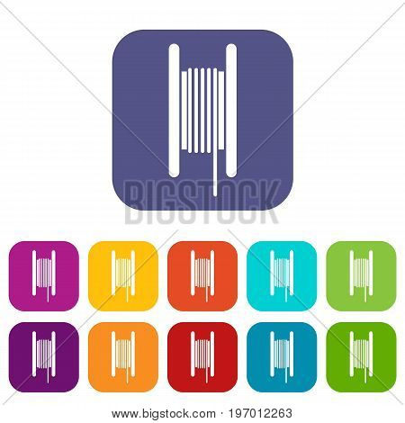 Electric cable in coil icons set vector illustration in flat style in colors red, blue, green, and other