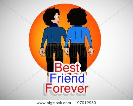 illustration of boys with best friend forever text on the occasion of friendship day