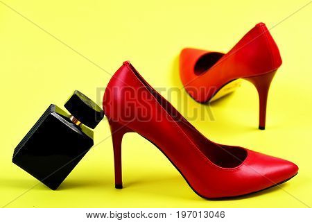 High Heel Footwear And Perfume As Fashion And Scent Concept