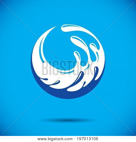 Ocean freshness theme vector logotype. Water day advertisement. Living in harmony with nature concept.