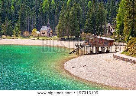 Chapel And Braies Lake In Dolomite Apls View