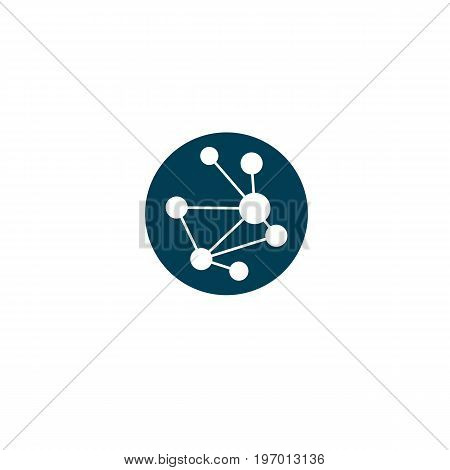 Vector model of molecule created with lines connected mesh. Molecular genetics conceptual illustration isolated on white.