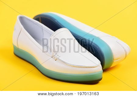 Summer Fashion And Casual Lifestyle Concept. Pair Of Female Shoes