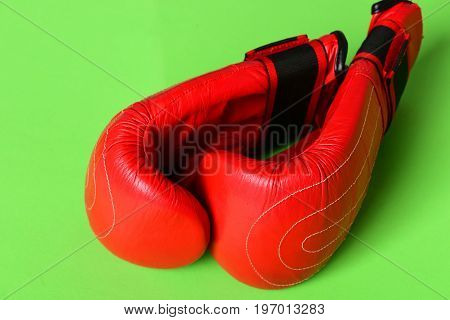 Sport Equipment Isolated On Green Background. Pair Of Boxing Sportswear