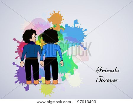illustration of boys with friends forever text on the occasion of friendship day