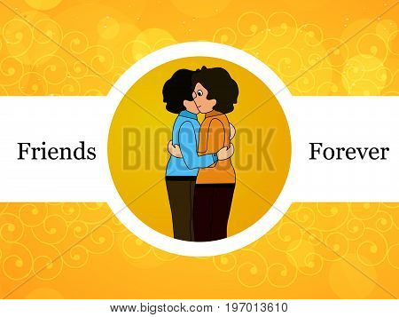 illustration of boys embracing each other with friends forever text on the occasion of friendship day