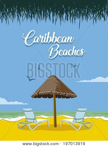 Image of beach with umbrella and chairs on caribbean beaches