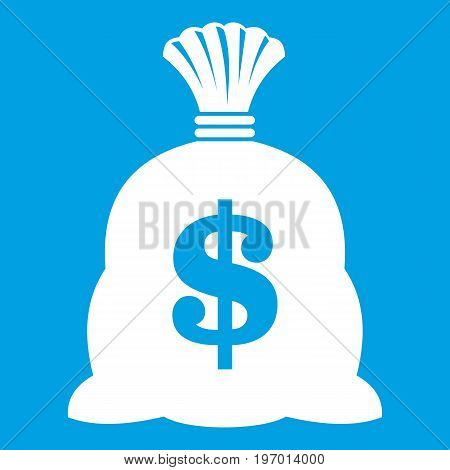 Money bag with US dollar sign icon white isolated on blue background vector illustration