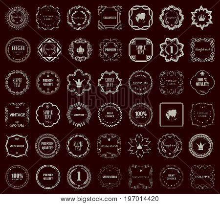 Vintage style vector retro emblem label collection. Design elements.