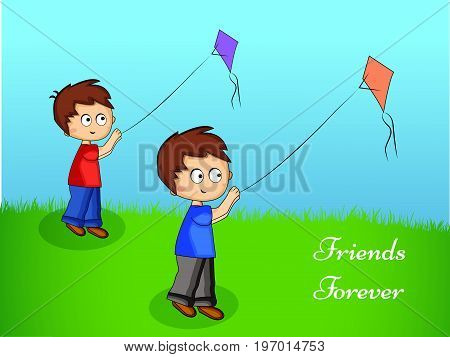 illustration of boys flying kites with friends forever text on the occasion of friendship day
