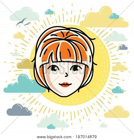 Beautiful women face human head. Vector character attractive redhead lady face features.