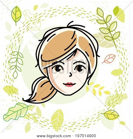 Beautiful women face human head. Vector character attractive blonde lady face features. Spring theme illustration.