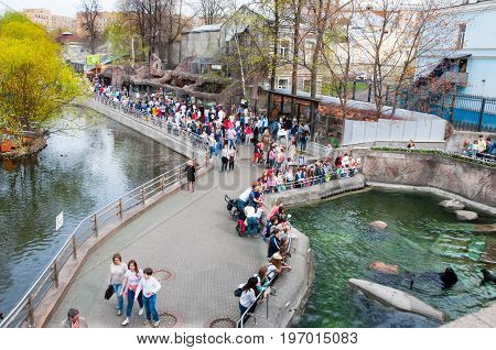 Moscow, Russia-May 01: Moscow Zoo crowd of locals and tourists go sightseeing on May 01, 2017 in Moscow. The Moscow Zoo was founded in 1864.