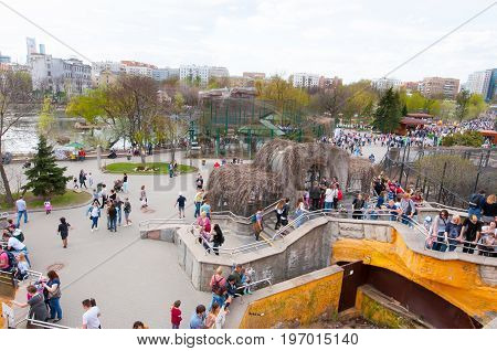 Moscow Russia-May 01: Moscow Zoo crowd of locals and tourists go sightseeing on May 01 2017 in Moscow. The Moscow Zoo was founded in 1864.