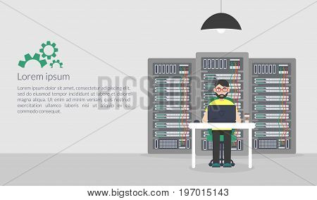 System Administrator. Technologies Server Maintenance Support Descriptions. Vector illustration in flat style.
