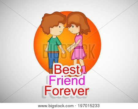 illustration of boy and girl with best friends forever text on the occasion of friendship day