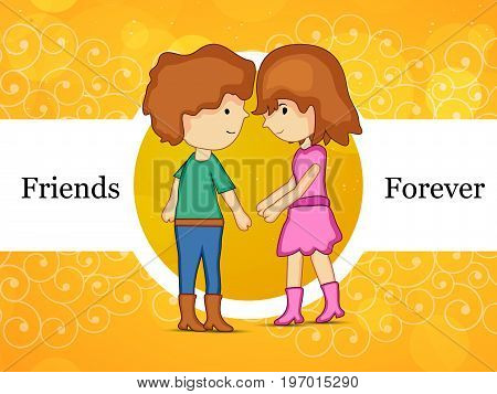 illustration boy and girl with friends forever text on the occasion of friendship day