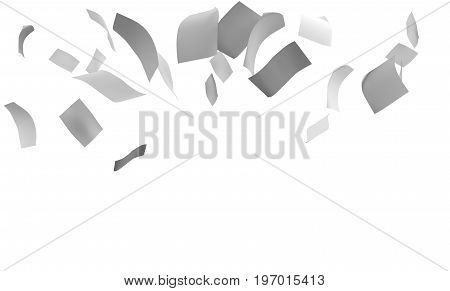 Group of flying or falling 3d white paper sheets. Isolated on white. 3D rendering