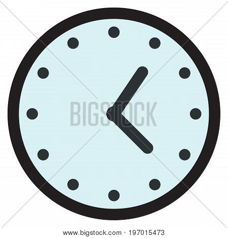 Wall round analog clock face, watch icon, vector illustration flat style design isolated on white. Colorful graphics