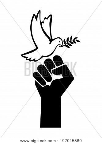 Menace to Peace. Concept sign for peace negotiations, the choice between peaceful or violent solution in business or family