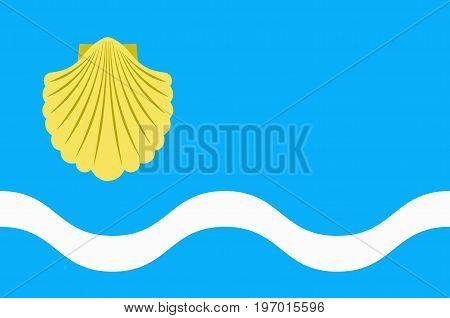 Flag of Olsztyn is the capital of the Warmian-Masurian Voivodeship in Poland. Vector illustration