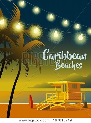 Image of beach with palm trees, lights and lifeguards on caribbean beaches
