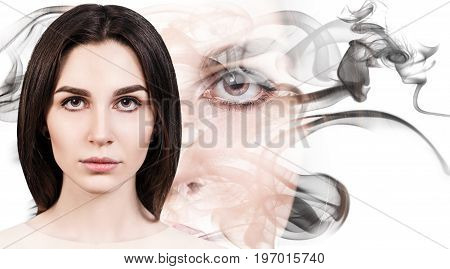 Double exposure portrait of sensual woman face and smoke silhouette. Beauty concept.